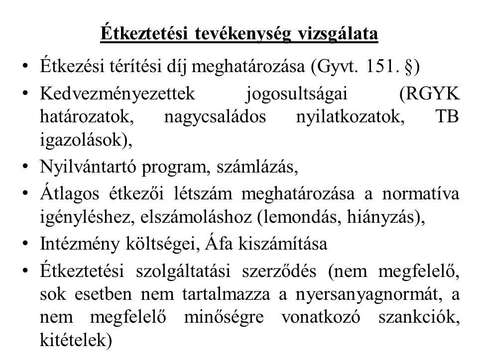 Étkeztetési tevékenység vizsgálata • Étkezési térítési díj meghatározása (Gyvt.
