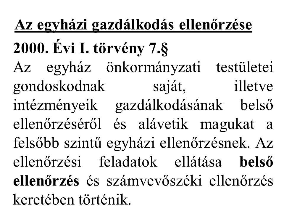 Az egyházi gazdálkodás ellenőrzése 2000.Évi I.