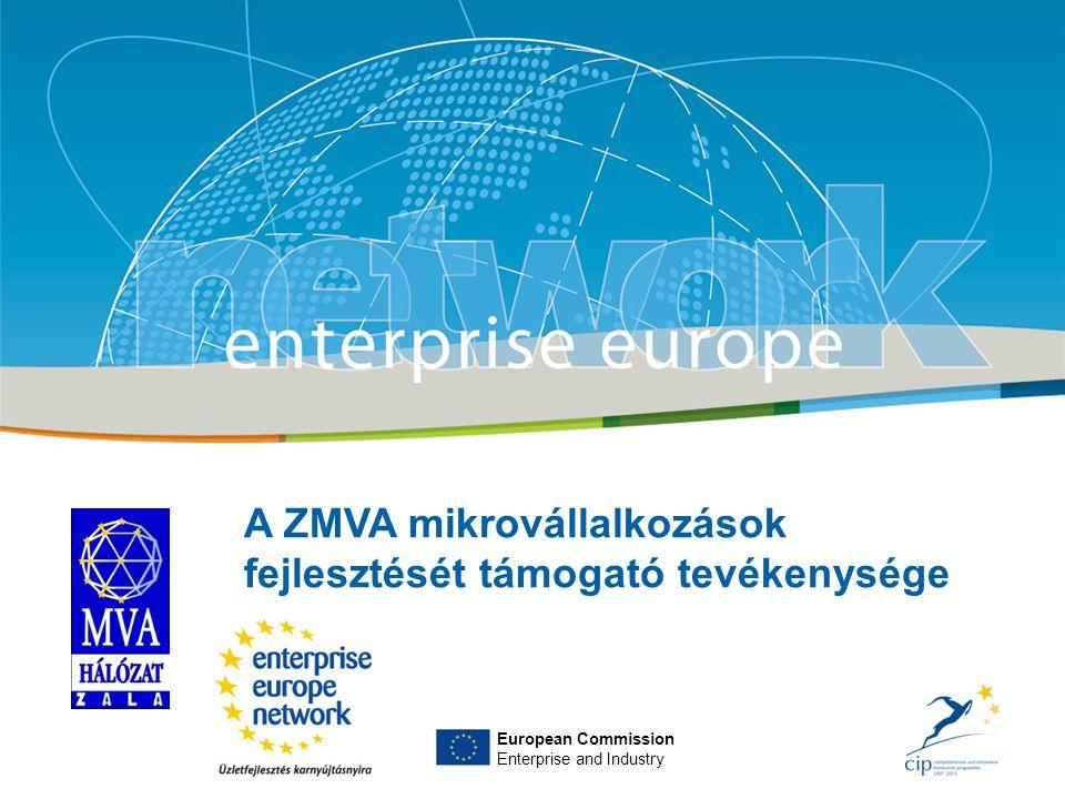 Title Sub-title PLACE PARTNER'S LOGO HERE European Commission Enterprise and Industry A ZMVA mikrovállalkozások fejlesztését támogató tevékenysége European Commission Enterprise and Industry