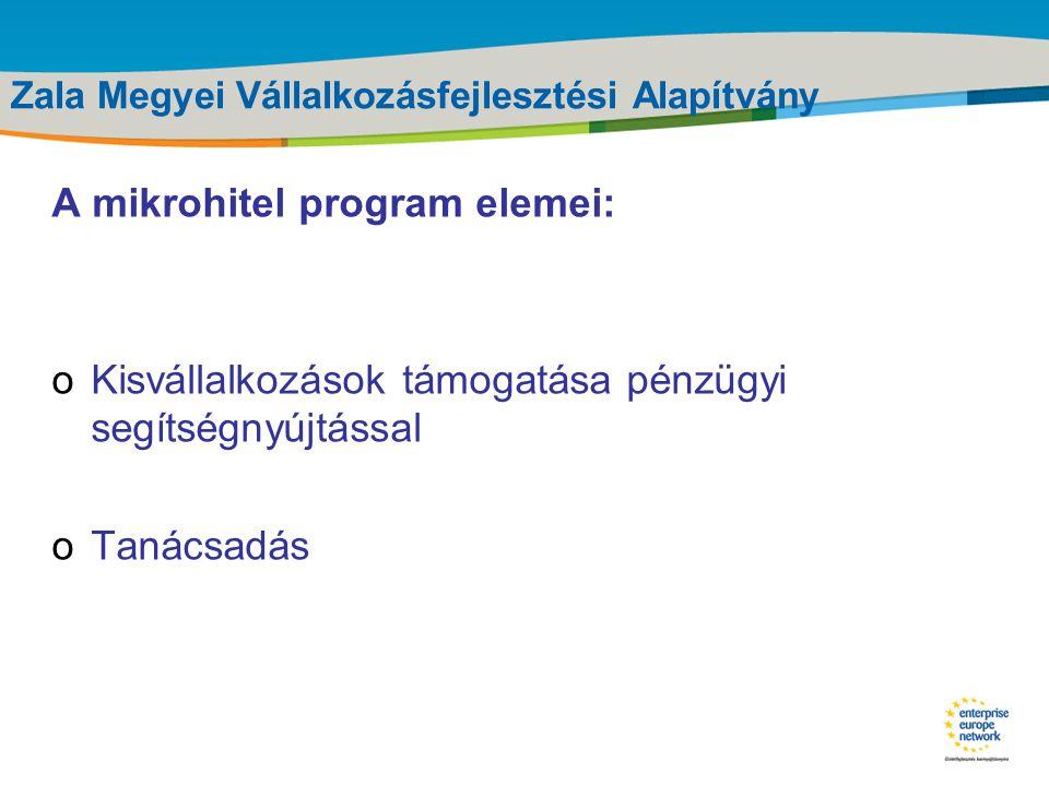 Title of the presentation | Date |‹#› Zala Megyei Vállalkozásfejlesztési Alapítvány Az Új Magyarország Mikrohitel Program célja: A kereskedelmi banki módszerekkel nem, vagy nem a kívánt mértékben finanszírozható, de hitelképes (jövedelmezően működő, illetve megalapozott és megfelelő fejlődést ígérő üzleti tervvel rendelkező) mikrovállalkozások kedvezőbb finanszírozási lehetőségekhez jutásának támogatása.