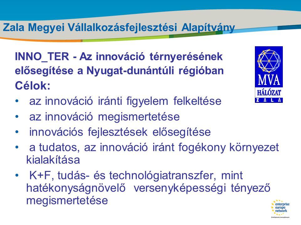 Title of the presentation | Date |‹#› Zala Megyei Vállalkozásfejlesztési Alapítvány •A ZMVA tevékenységei: • Mikrohitel kihelyezés • Enterprise Europe Network • Pannon Fa- és Bútoripari Klaszter • Inkubátorházak üzemeltetése (Zalaegerszeg, Lenti, Zalaszentgrót) •hazai és nemzetközi projektekben való részvétel •Tanácsadási tevékenység