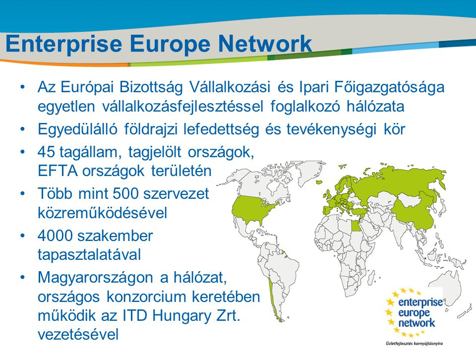 Title of the presentation | Date |‹#› Enterprise Europe Network Létrejötte •A CIP (Competitiveness and Innovation Programme) keretében hozta létre az Európai Bizottság •2008.
