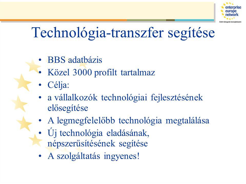 Technológia-transzfer segítése •BBS adatbázis •Közel 3000 profilt tartalmaz •Célja: •a vállalkozók technológiai fejlesztésének elősegítése •A legmegfelelőbb technológia megtalálása •Új technológia eladásának, népszerűsítésének segítése •A szolgáltatás ingyenes!