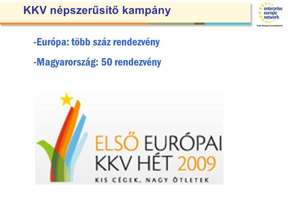 -Európa: több száz rendezvény -Magyarország: 50 rendezvény KKV népszerűsítő kampány