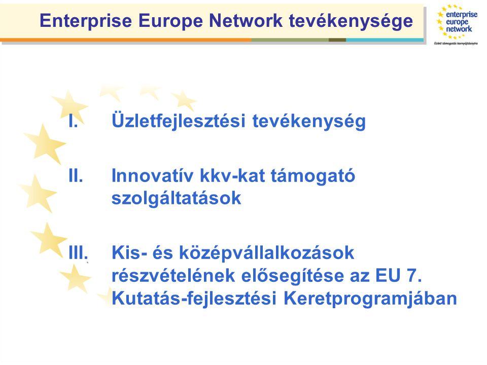 I.Üzletfejlesztési tevékenység II.Innovatív kkv-kat támogató szolgáltatások III.Kis- és középvállalkozások részvételének elősegítése az EU 7.