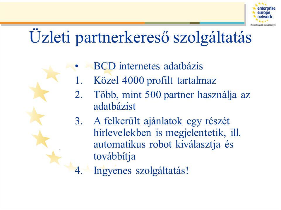 Üzleti partnerkereső szolgáltatás •BCD internetes adatbázis 1.Közel 4000 profilt tartalmaz 2.Több, mint 500 partner használja az adatbázist 3.A felkerült ajánlatok egy részét hírlevelekben is megjelentetik, ill.