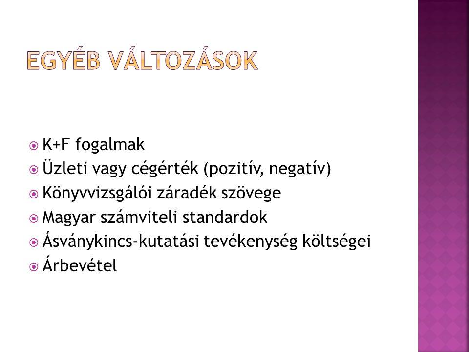  K+F fogalmak  Üzleti vagy cégérték (pozitív, negatív)  Könyvvizsgálói záradék szövege  Magyar számviteli standardok  Ásványkincs-kutatási tevékenység költségei  Árbevétel