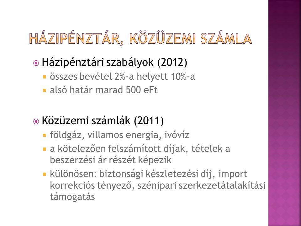  Házipénztári szabályok (2012)  összes bevétel 2%-a helyett 10%-a  alsó határ marad 500 eFt  Közüzemi számlák (2011)  földgáz, villamos energia, ivóvíz  a kötelezően felszámított díjak, tételek a beszerzési ár részét képezik  különösen: biztonsági készletezési díj, import korrekciós tényező, szénipari szerkezetátalakítási támogatás