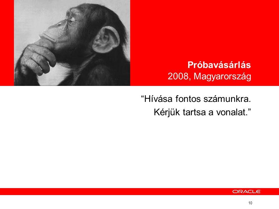 """10 """"Hívása fontos számunkra. Kérjük tartsa a vonalat."""" Próbavásárlás 2008, Magyarország"""