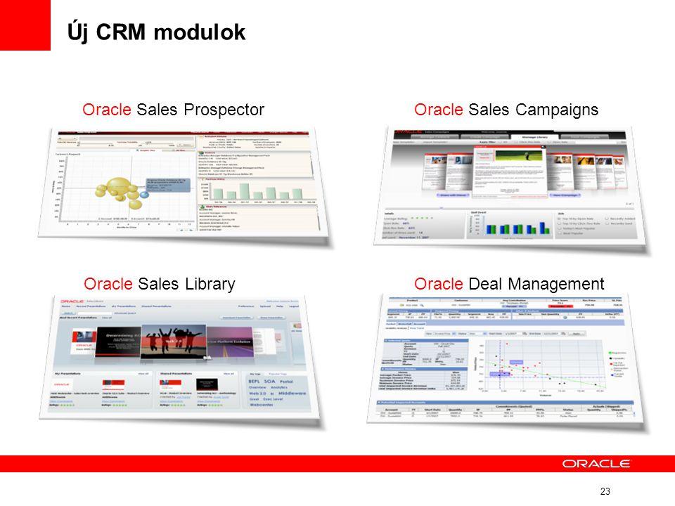 23 Új CRM modulok Oracle Sales LibraryOracle Deal Management Oracle Sales CampaignsOracle Sales Prospector