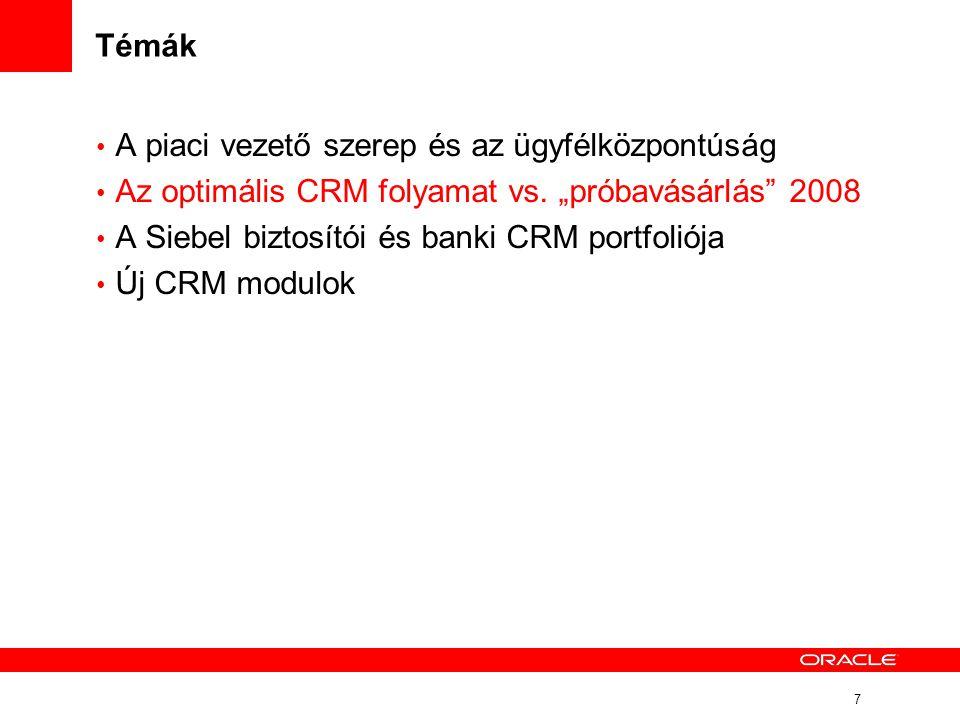"""7 Témák • A piaci vezető szerep és az ügyfélközpontúság • Az optimális CRM folyamat vs. """"próbavásárlás"""" 2008 • A Siebel biztosítói és banki CRM portfo"""