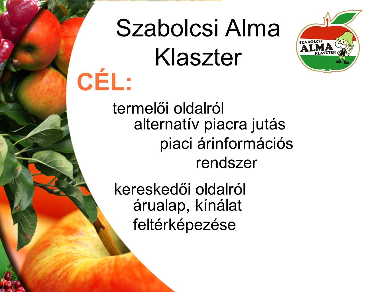 Szabolcsi Alma Klaszter CÉL: alternatív piacra jutás piaci árinformációs rendszer termelői oldalról kereskedői oldalról árualap, kínálat feltérképezés