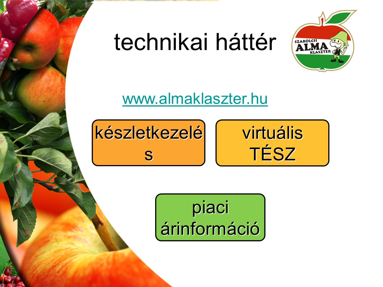technikai háttér www.almaklaszter.hu virtuális TÉSZ piaci árinformáció készletkezelé s