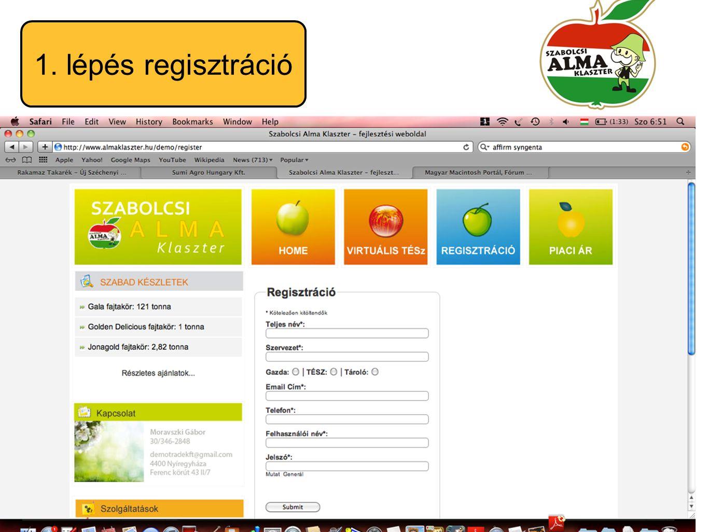 1. lépés regisztráció