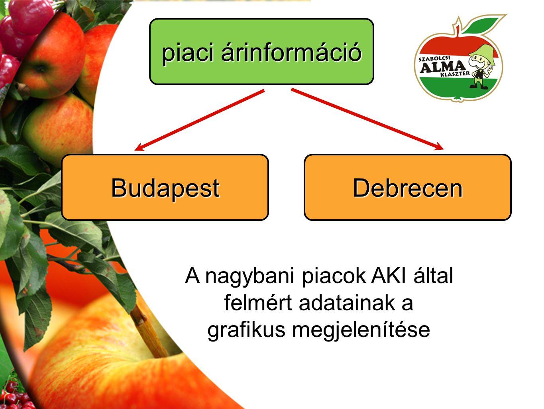 A nagybani piacok AKI által felmért adatainak a grafikus megjelenítése piaci árinformáció BudapestDebrecen
