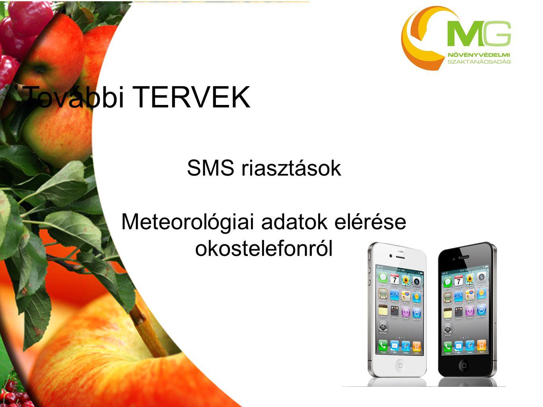 További TERVEK SMS riasztások Meteorológiai adatok elérése okostelefonról