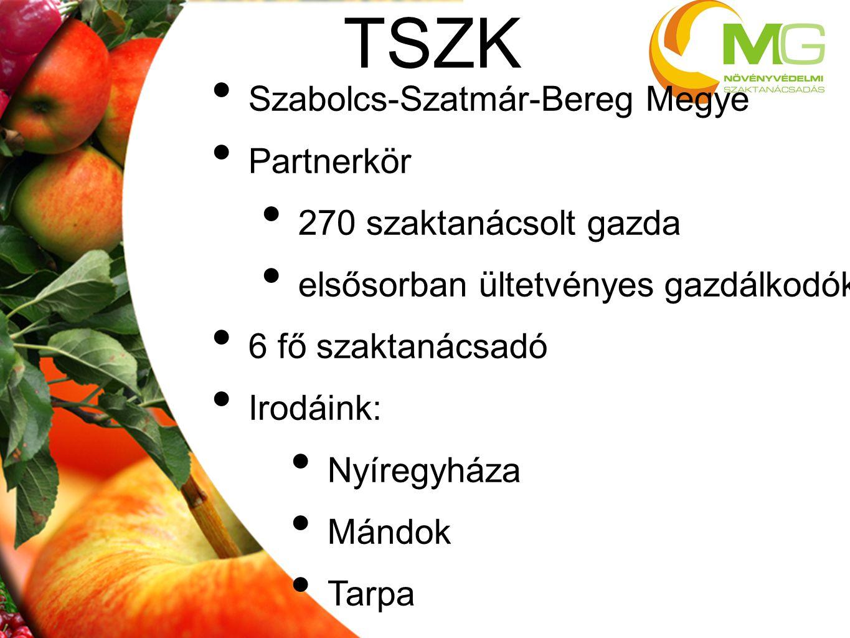 • Szabolcs-Szatmár-Bereg Megye • Partnerkör • 270 szaktanácsolt gazda • elsősorban ültetvényes gazdálkodók • 6 fő szaktanácsadó • Irodáink: • Nyíregyh
