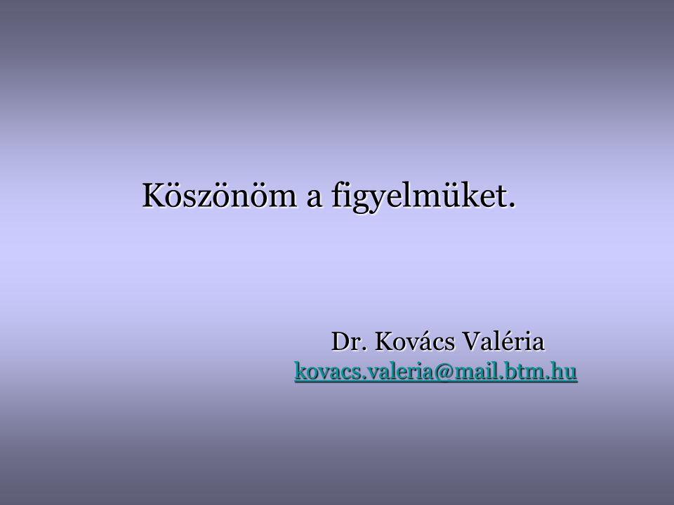 Köszönöm a figyelmüket. Dr. Kovács Valéria kovacs.valeria@mail.btm.hu