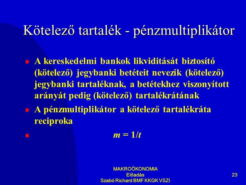 MAKROÖKONOMIA Előadás Szabó Richard BMF KKGK VSZI 23 Kötelező tartalék - pénzmultiplikátor  A kereskedelmi bankok likviditását biztosító (kötelező) jegybanki betéteit nevezik (kötelező) jegybanki tartaléknak, a betétekhez viszonyított arányát pedig (kötelező) tartalékrátának  A pénzmultiplikátor a kötelező tartalékráta reciproka  m = 1/t