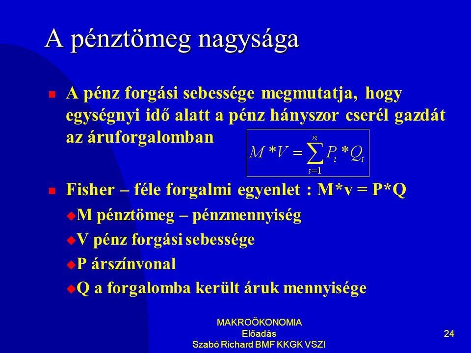 MAKROÖKONOMIA Előadás Szabó Richard BMF KKGK VSZI 24 A pénztömeg nagysága  A pénz forgási sebessége megmutatja, hogy egységnyi idő alatt a pénz hányszor cserél gazdát az áruforgalomban  Fisher – féle forgalmi egyenlet : M*v = P*Q  M pénztömeg – pénzmennyiség  V pénz forgási sebessége  P árszínvonal  Q a forgalomba került áruk mennyisége
