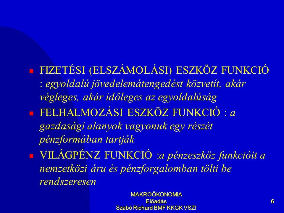 MAKROÖKONOMIA Előadás Szabó Richard BMF KKGK VSZI 27  A pénzkeresleti függvény közgazdasági változók (a jövedelem és a kamatláb) és azok matematikai kapcsolódása, amelyek függvényében meghatározható az emberek által tartani kívánt pénz mennyisége  Általában reálpénzmennyiségre vonatkozik
