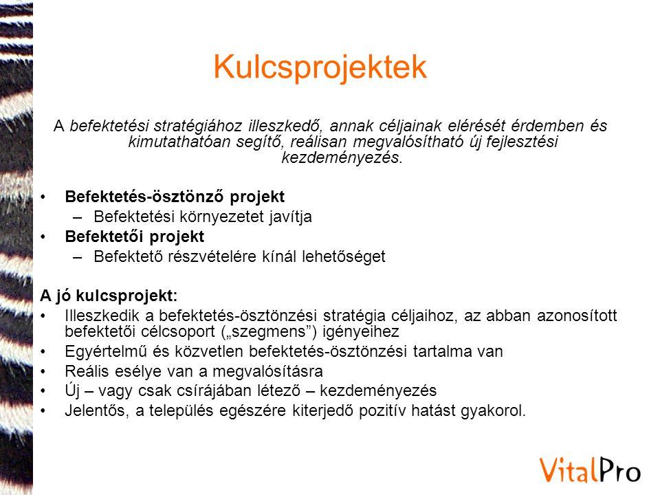 Kulcsprojektek A befektetési stratégiához illeszkedő, annak céljainak elérését érdemben és kimutathatóan segítő, reálisan megvalósítható új fejlesztés