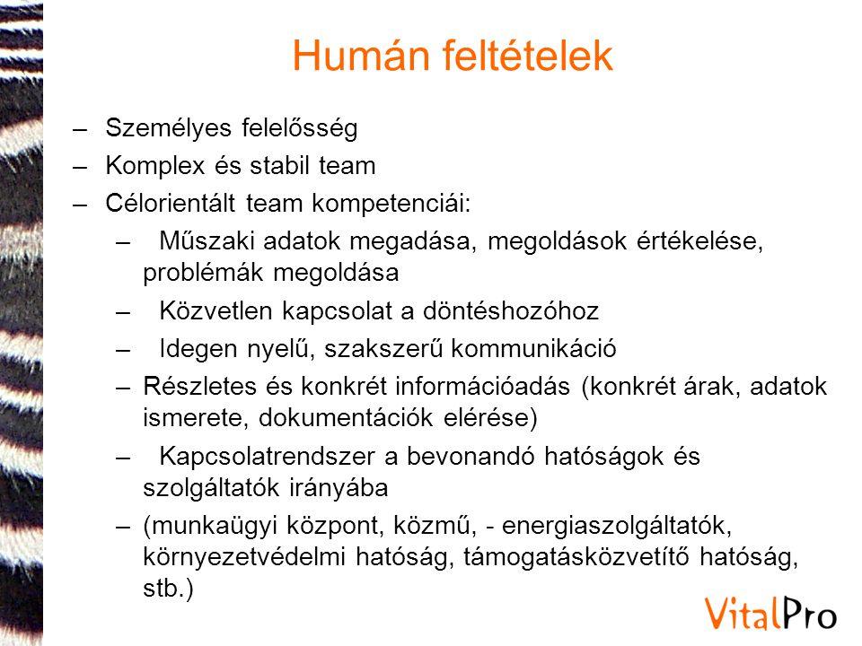 Humán feltételek –Személyes felelősség –Komplex és stabil team –Célorientált team kompetenciái: –Műszaki adatok megadása, megoldások értékelése, probl