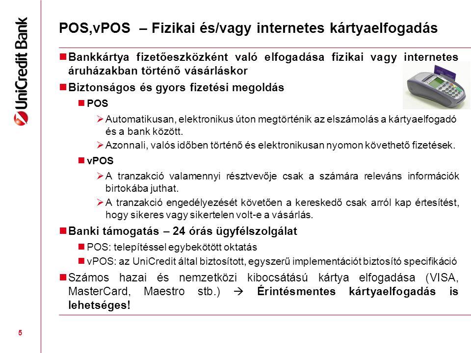 POS,vPOS – Fizikai és/vagy internetes kártyaelfogadás  Bankkártya fizetőeszközként való elfogadása fizikai vagy internetes áruházakban történő vásárláskor  Biztonságos és gyors fizetési megoldás  POS  Automatikusan, elektronikus úton megtörténik az elszámolás a kártyaelfogadó és a bank között.