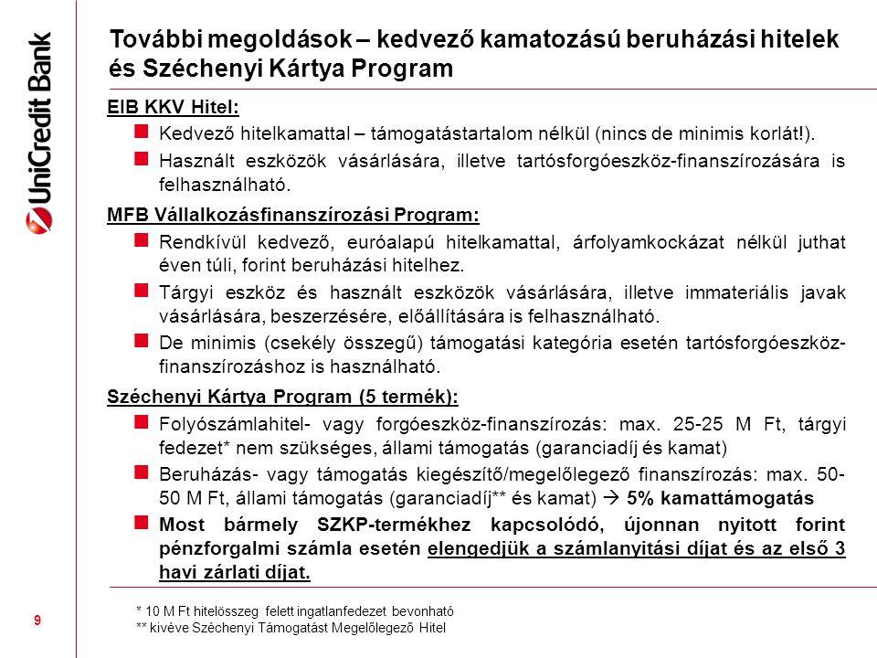 További megoldások – kedvező kamatozású beruházási hitelek és Széchenyi Kártya Program EIB KKV Hitel:  Kedvező hitelkamattal – támogatástartalom nélkül (nincs de minimis korlát!).