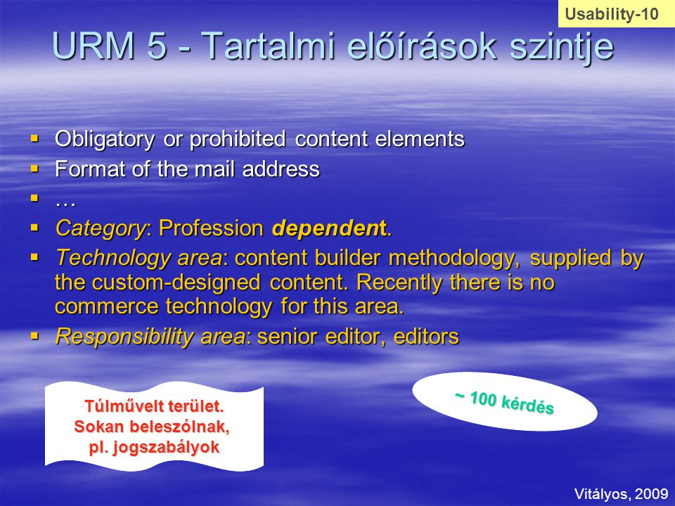 URM 5 - Tartalmi előírások szintje  Obligatory or prohibited content elements  Format of the mail address  …  Category: Profession dependent.