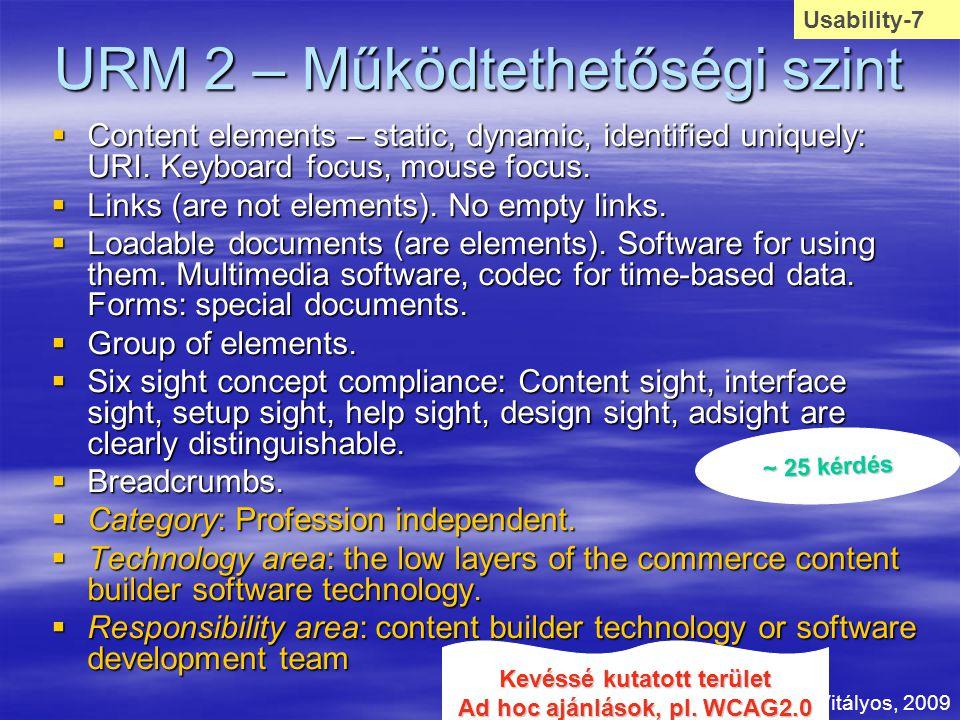 URM 2 – Működtethetőségi szint  Content elements – static, dynamic, identified uniquely: URI. Keyboard focus, mouse focus.  Links (are not elements)