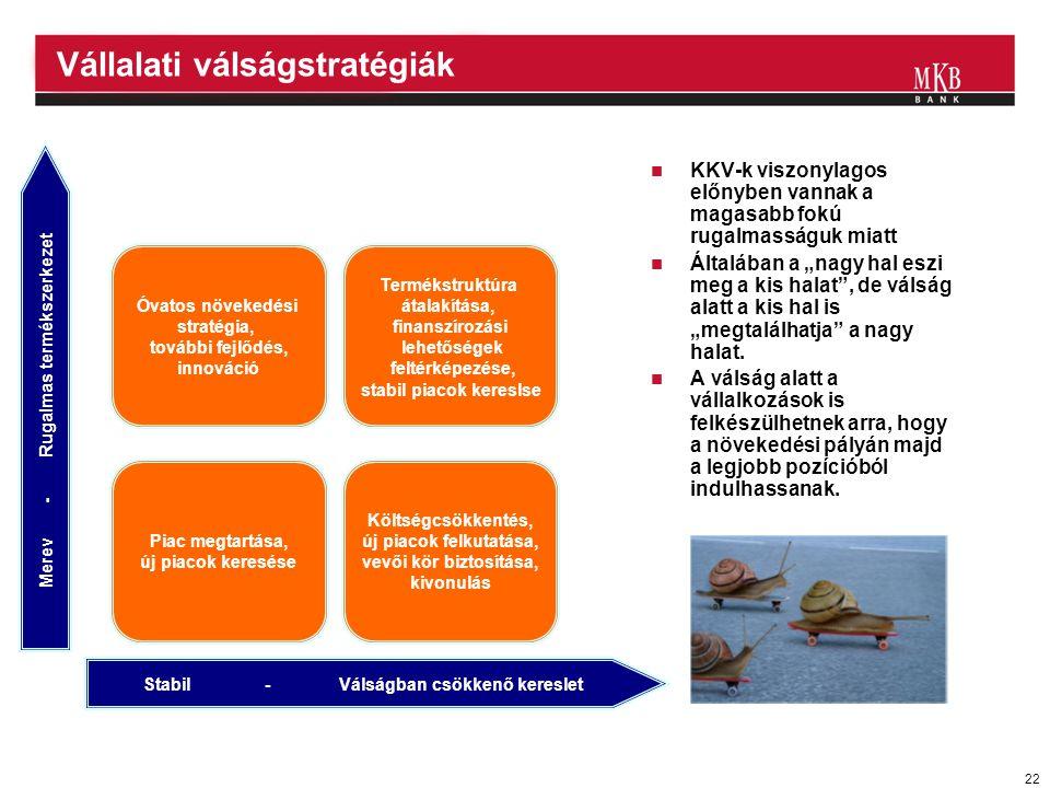 """22 Vállalati válságstratégiák Stabil - Válságban csökkenő kereslet Merev - Rugalmas termékszerkezet Költségcsökkentés, új piacok felkutatása, vevői kör biztosítása, kivonulás Piac megtartása, új piacok keresése Óvatos növekedési stratégia, további fejlődés, innováció Termékstruktúra átalakítása, finanszírozási lehetőségek feltérképezése, stabil piacok kereslse  KKV-k viszonylagos előnyben vannak a magasabb fokú rugalmasságuk miatt  Általában a """"nagy hal eszi meg a kis halat , de válság alatt a kis hal is """"megtalálhatja a nagy halat."""