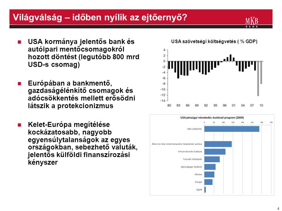 5 A feltörekvő országok kockázati felára tartósan magas  CDS felár az egyes feltörekvő országokban
