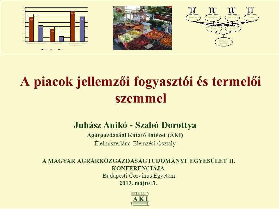 A piacok jellemzői fogyasztói és termelői szemmel Juhász Anikó - Szabó Dorottya Agárgazdasági Kutató Intézet (AKI) Élelmiszerlánc Elemzési Osztály A M