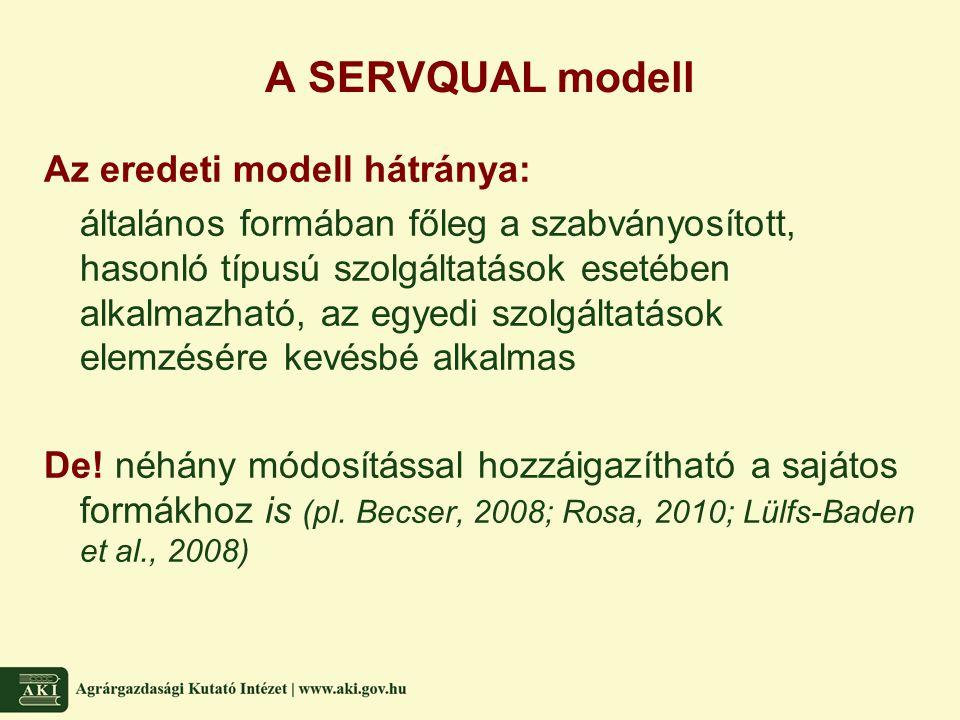 A SERVQUAL modell Az eredeti modell hátránya: általános formában főleg a szabványosított, hasonló típusú szolgáltatások esetében alkalmazható, az egye