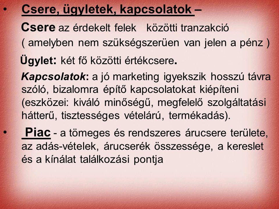 Cernat Kati •Csere, ügyletek, kapcsolatok – Csere az érdekelt felek közötti tranzakció ( amelyben nem szükségszerüen van jelen a pénz ) Ügylet : két f