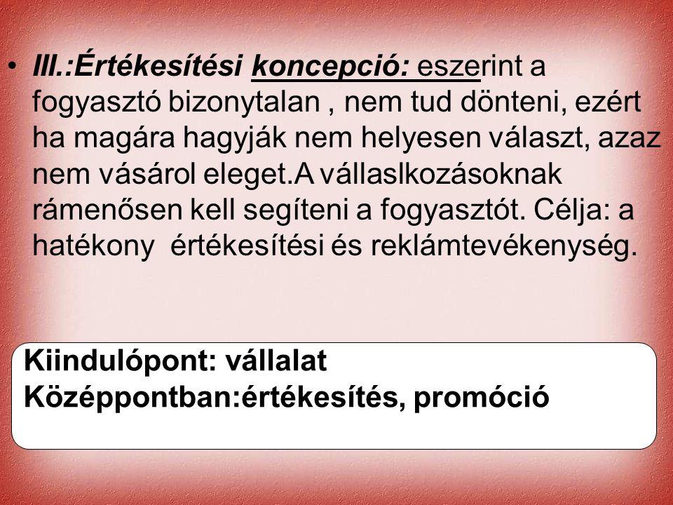 Cernat Kati •III.:Értékesítési koncepció: eszerint a fogyasztó bizonytalan, nem tud dönteni, ezért ha magára hagyják nem helyesen választ, azaz nem vá