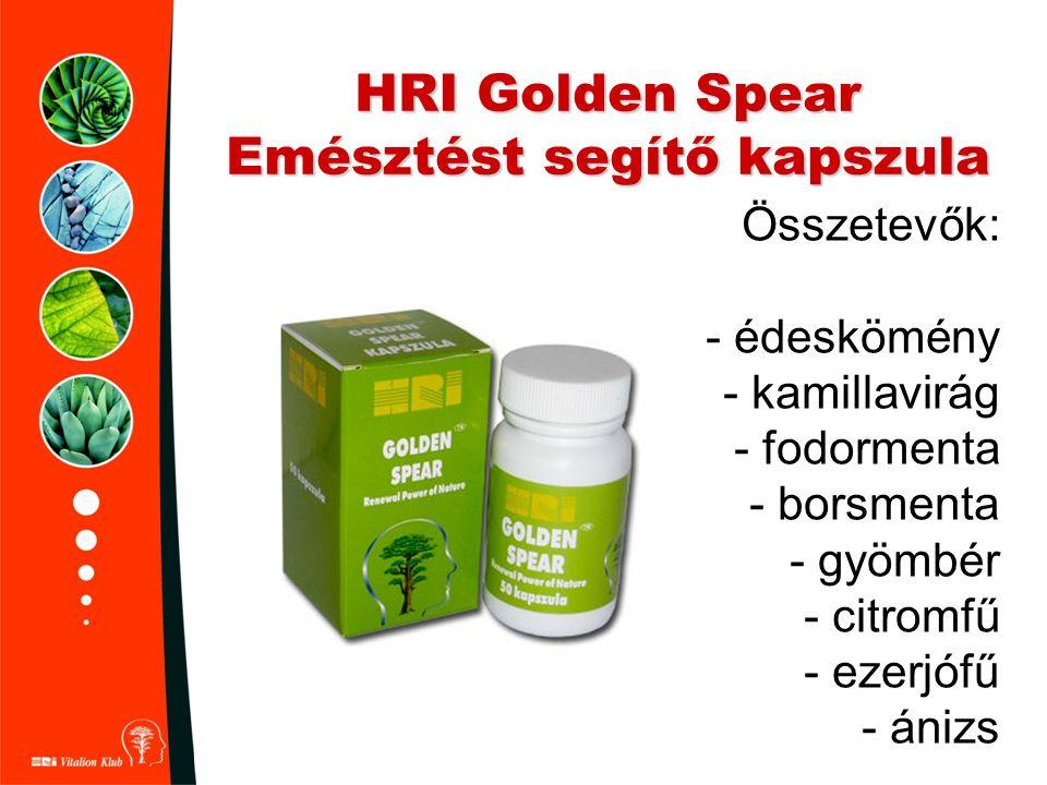 HRI Golden Spear Emésztést segítő kapszula Összetevők: - édeskömény - kamillavirág - fodormenta - borsmenta - gyömbér - citromfű - ezerjófű - ánizs