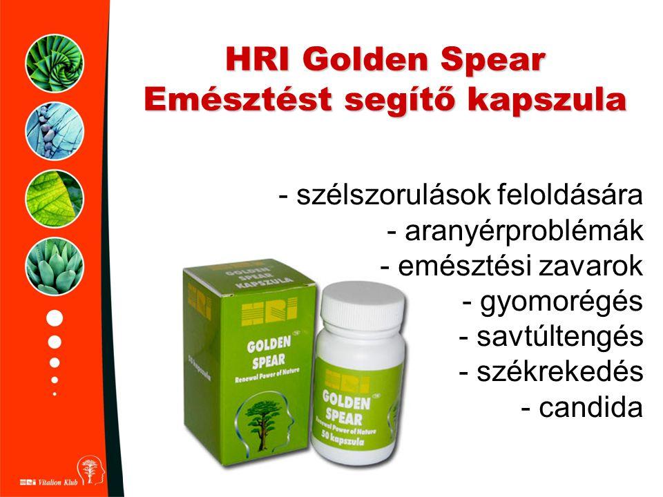 HRI Golden Spear Emésztést segítő kapszula - szélszorulások feloldására - aranyérproblémák - emésztési zavarok - gyomorégés - savtúltengés - székreked