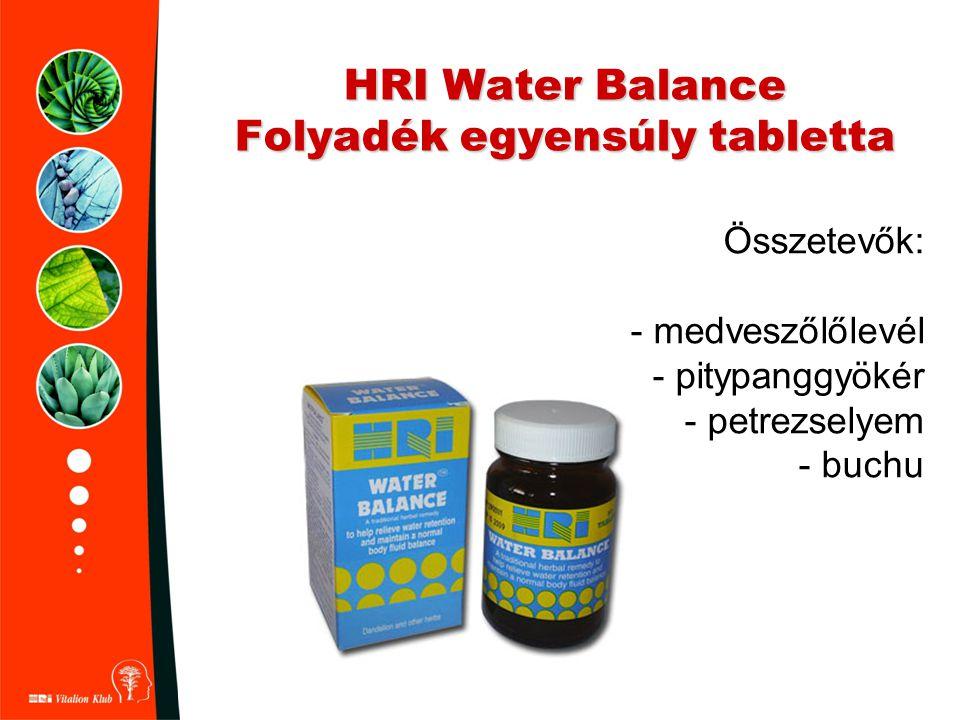 HRI Water Balance Folyadék egyensúly tabletta Összetevők: - medveszőlőlevél - pitypanggyökér - petrezselyem - buchu