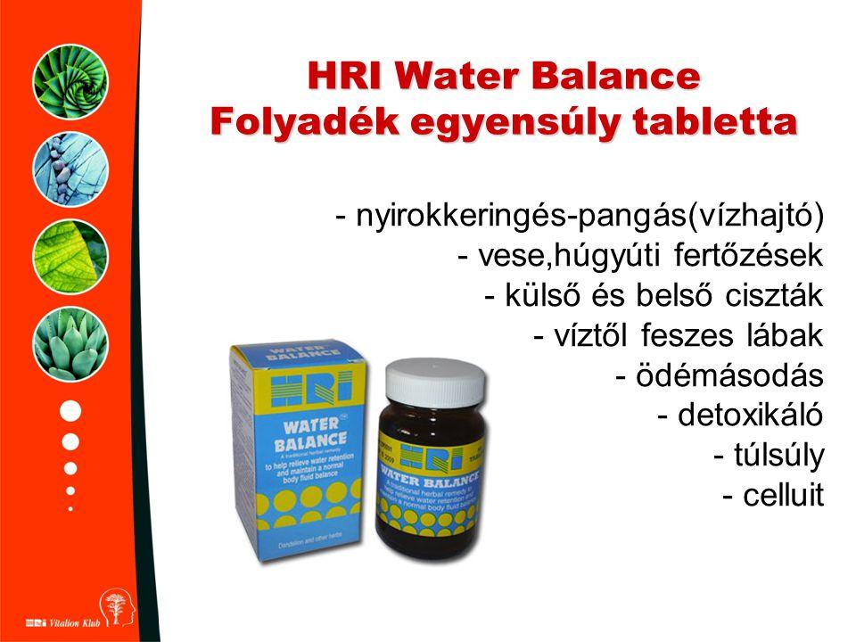 HRI Water Balance Folyadék egyensúly tabletta - nyirokkeringés-pangás(vízhajtó) - vese,húgyúti fertőzések - külső és belső ciszták - víztől feszes láb