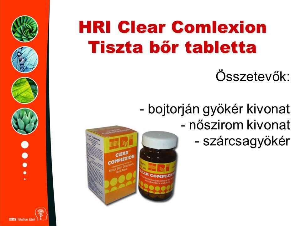 HRI Clear Comlexion Tiszta bőr tabletta Összetevők: - bojtorján gyökér kivonat - nőszirom kivonat - szárcsagyökér