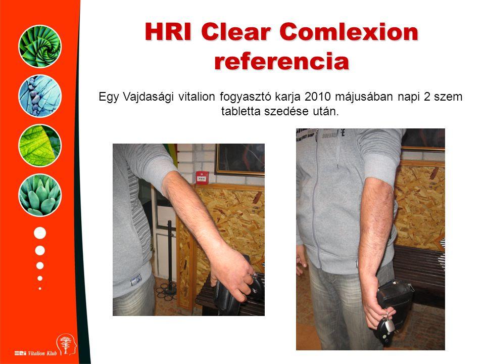 HRI Clear Comlexion referencia Egy Vajdasági vitalion fogyasztó karja 2010 májusában napi 2 szem tabletta szedése után.