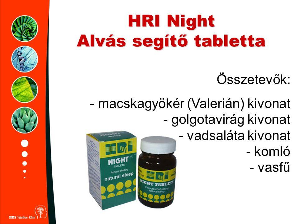 HRI Night Alvás segítő tabletta Összetevők: - macskagyökér (Valerián) kivonat - golgotavirág kivonat - vadsaláta kivonat - komló - vasfű