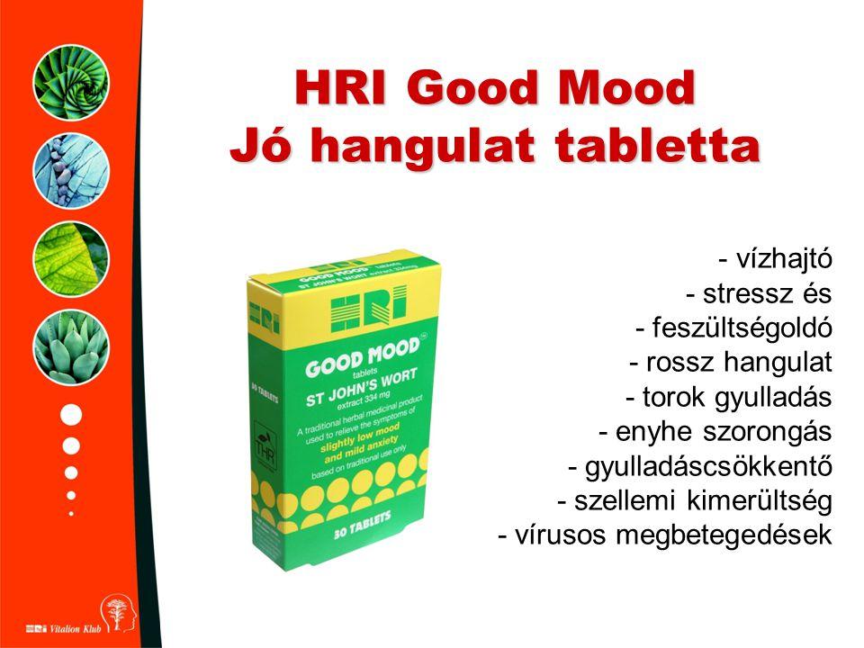 HRI Good Mood Jó hangulat tabletta - vízhajtó - stressz és - feszültségoldó - rossz hangulat - torok gyulladás - enyhe szorongás - gyulladáscsökkentő