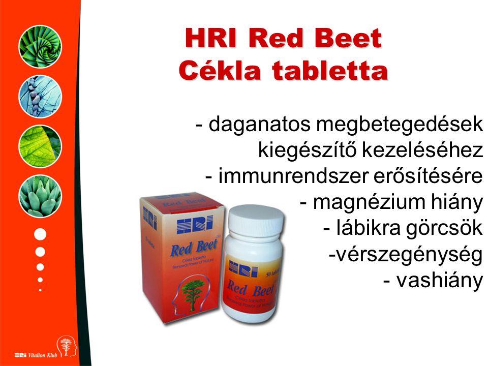 HRI Red Beet Cékla tabletta - daganatos megbetegedések kiegészítő kezeléséhez - immunrendszer erősítésére - magnézium hiány - lábikra görcsök -vérszeg