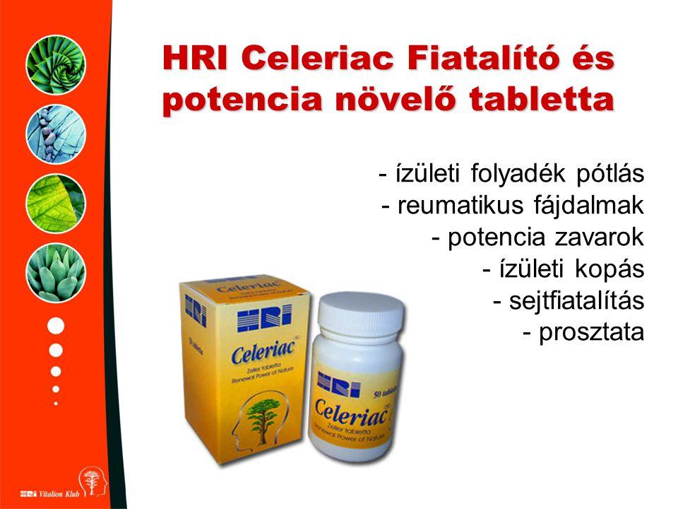 HRI Celeriac Fiatalító és potencia növelő tabletta - ízületi folyadék pótlás - reumatikus fájdalmak - potencia zavarok - ízületi kopás - sejtfiatalítá