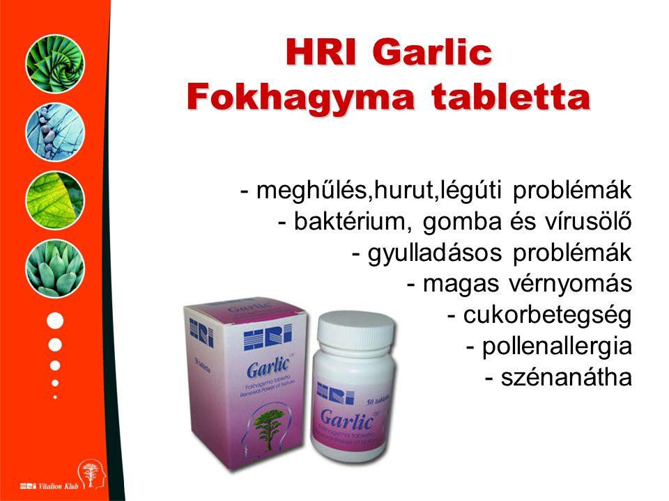 HRI Garlic Fokhagyma tabletta - meghűlés,hurut,légúti problémák - baktérium, gomba és vírusölő - gyulladásos problémák - magas vérnyomás - cukorbetegs