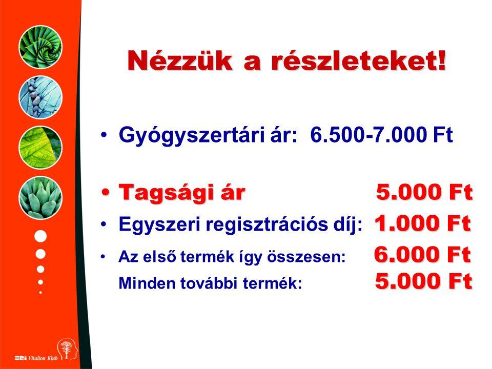 Nézzük a részleteket! •Gyógyszertári ár: 6.500-7.000 Ft •Tagsági ár 5.000 Ft 1.000 Ft •Egyszeri regisztrációs díj: 1.000 Ft 6.000 Ft 5.000 Ft •Az első