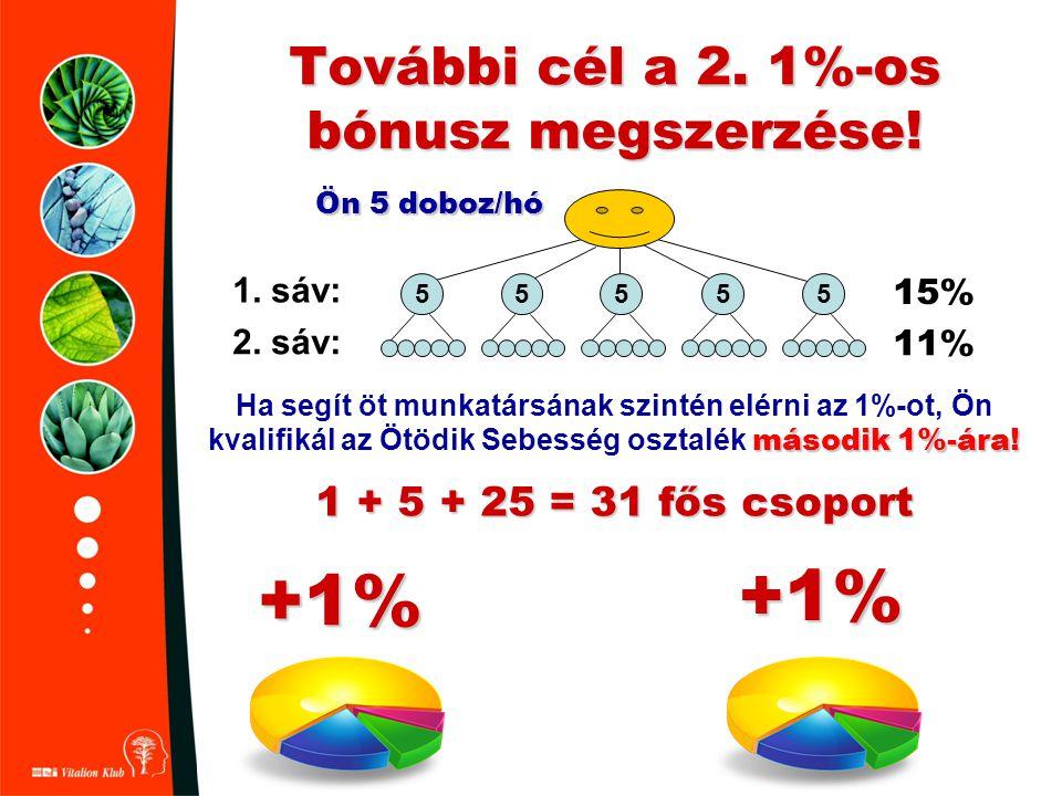 További cél a 2. 1%-os bónusz megszerzése! második 1%-ára! Ha segít öt munkatársának szintén elérni az 1%-ot, Ön kvalifikál az Ötödik Sebesség osztalé